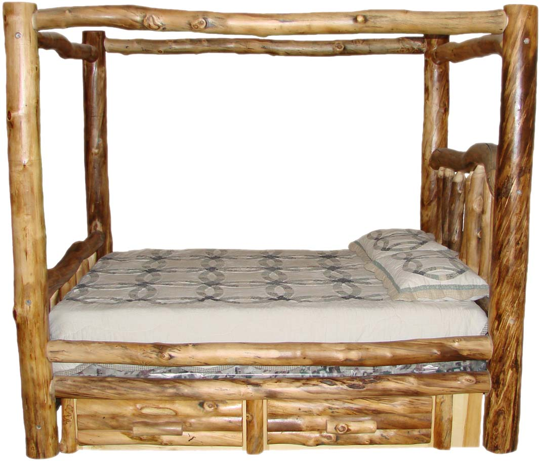 Williams log cabin furniture colorado aspen log beds for Log cabin style bunk beds